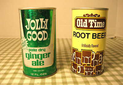 Vtg. Steel Pop Top Wisconsin Soda Cans Old Time Root Beer Jolly Good Ginger Ale