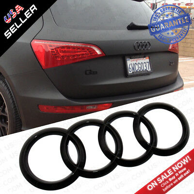 AUDI Gloss Black Liftgate Trunk Logo Rings Badge Emblem Decoration Q5 SQ5 Q7 SUV