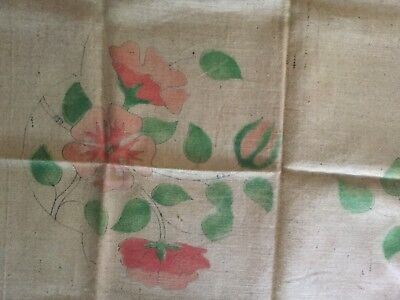 """Oval Burlap Latch Hook Floral Rug Hessian Imported Printed Canvas  38"""" X 31"""" VTG"""