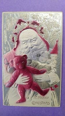 Vintage Highly Embossed Christmas Postcard Santa Claus Holding Toys Silver/Pink