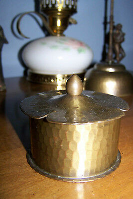 Roycroft Inkwell with Glass Insert - Copper with Hand-Hammered Brass  Finish