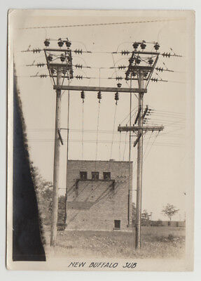 2 Late 1920s Orig Photographs New Buffalo, Michigan ELECTRICAL POWER SUBSTATION
