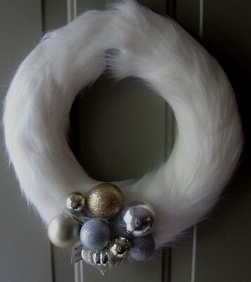 New - Pier 1 White Faux Fur Christmas Wreath With Gold And Silver Ornaments