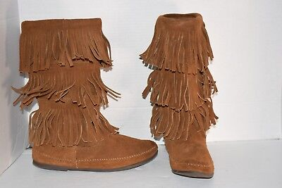 Minnetonka Women's Dusty Brown 3 Layer Fringe Suede Moccasin Boots #1638 Size 10