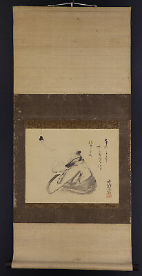 JAPANESE HANGING SCROLL ART Painting  Asian antique  #E5229