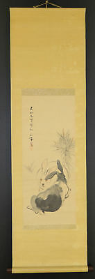 """JAPANESE HANGING SCROLL ART Painting """"Rabbits"""" Asian antique  #E5225"""