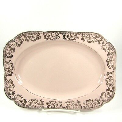 Vintage Argosy Pink W S George Platter Silver Floral Rectangle 11 x 7.5 inches