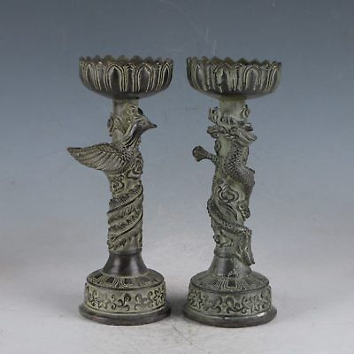 Chinese Rare Bronze Dragon&Phoenix Candlestick Made During The Xuande HST0027.c