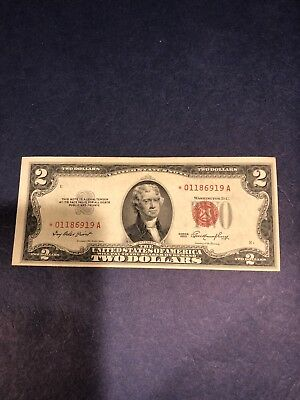 1953 $2 US Note. Red Seal Star Note *01186919A. Two Dollar
