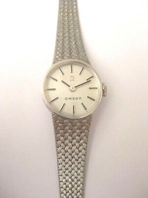 Vintage Ladies 14K White Gold ITALY OMEGA Winding Watch