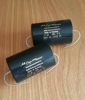 Mundorf Silver/Gold 4.7uf / 1200vdc audio capacitors very close matched pair !