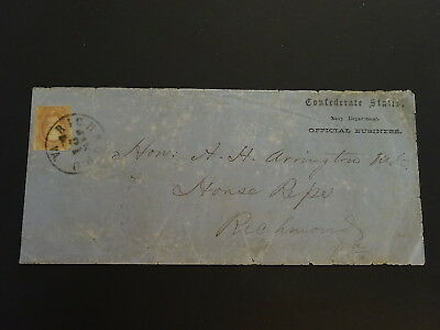 "Genuine Used Confederate Csa Official ""navy Department"" Cover W/csa #8 Nr!"