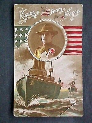 Pstcd020 Military Kisses From France Postcard Collectible Posted