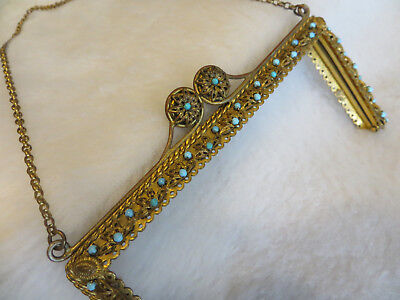 Pretty Gilded Antique Beaded Bag Purse Top Jeweled With Real Turquoise Vintage