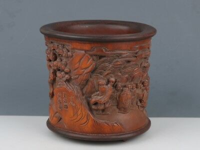 Chinese Exquisite Hand-carved Louhan carving bamboo Brush pot*
