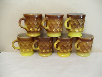 7 Vtg Anchor Hocking Fire King Brown Yellow Kimberly C Handle Mugs Coffee Cups