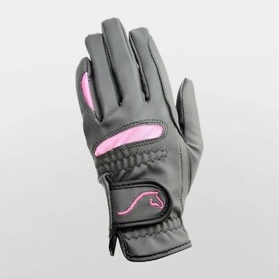(Extra Large) - Hy5 Lightweight Horse Riding Gloves - Black & Pink Adult Sizes