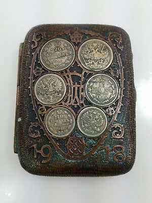 Antique 1918 Masonic Bronze & Russian Coin cigarette Case