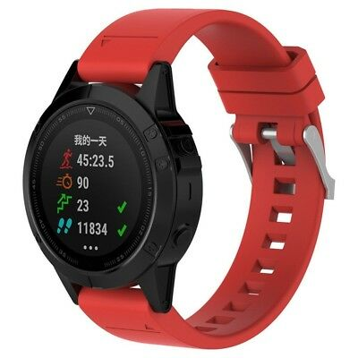 (Red) - Garmin Fenix 5 GPS Watch Band,Replacement Silicagel Quick Instal Band