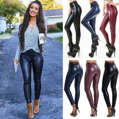 d9c8465f090ef7 Womens Faux Leather Leggings High Waist Stretchy Push Up Pencil Pants  Skinny G20