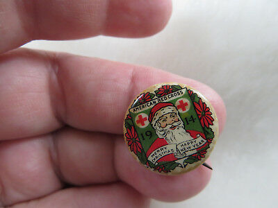 Vintage Santa Claus Pinback Button Red Cross 1914 Merry Christmas Happy New Year