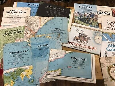 Lot of 44 Vintage National Geographic Maps ca 1970s