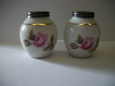 German Antique Sterling And Porcelain Salt And Pepper Shakers In Orig Box