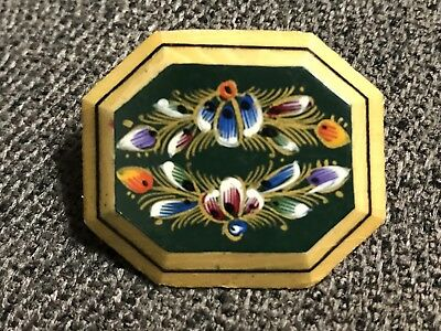Vintage Hand Painted Wood Stunning Artisan Folk Art Flower Lacquer Brooch Pin