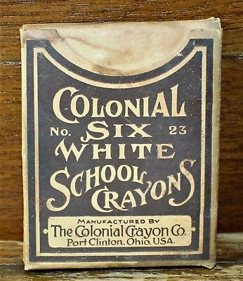 VINTAGE COLONIAL SIX WHITE SCHOOL CRAYONS / No 23 / CHALK / PORT CLINTON OHIO