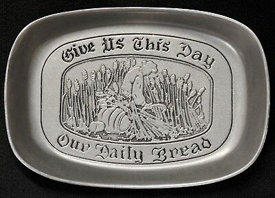 """🎄 WILTON Pewter Armetale """"Give Us This Day Our Daily Bread"""" Tray, Dish, Plate"""
