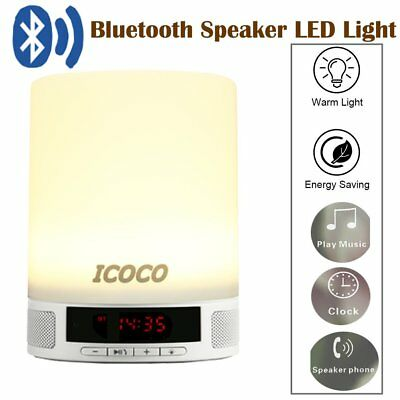Touch Control Bedside LED Lamp Table Night Light Bluetooth Speaker Clock RGB BE