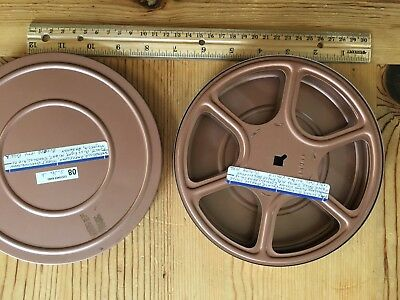 VINTAGE 8mm 7 inch FILM TAKEUP REEL AND METAL TIN CANISTER CASE