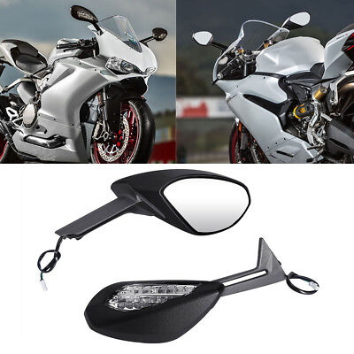 Black Mirrors Set With Amber Turn Signals Fit Ducati 1299 Panigale S 2015 2016