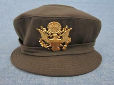 Original WW2 US Army Nurse WAC Womens Dark OD Service Visor Cap Hat W/ Insignia