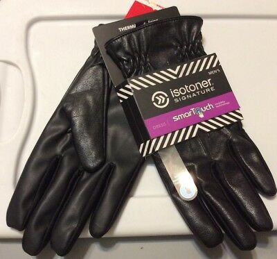 Isotoner Signature smart touch men's Large black leather dress gloves NWT