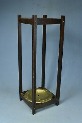 Antique MISSION OAK UMBRELLA STAND with DRIP PAN STICKLEY ERA OLD #06514