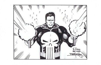 BARRY KITSON drawing of spiderman villain THE PUNISHER