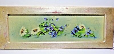 """Framed Hand Painted """"Yard Long"""" Oil Painting Daisy's Violets 24"""" x 9"""" Signed"""