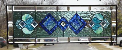 "••Mystique •• HUGE -Beveled Stained Glass Window Panel • 40 3/8"" x 13 3/8"""