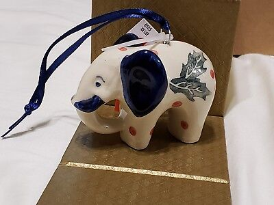Boleslawiec Polish Pottery Christmas Ornament Elephant with Holly NEW