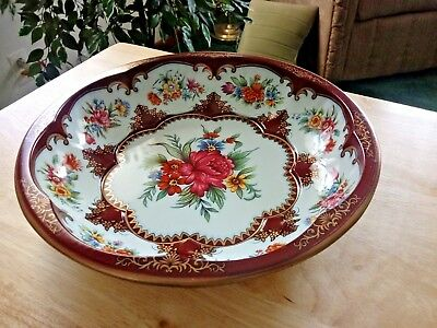 """Vintage DAHER DECORATED WARE FLORAL TIN 10"""" Bowl Made in England 1971 Red Rose"""