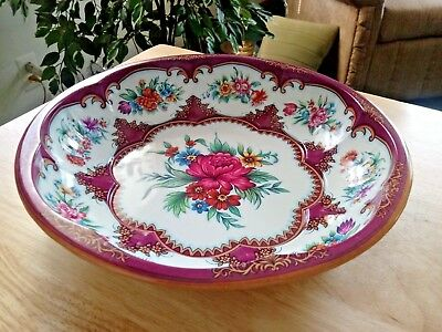 """Vintage DAHER DECORATED WARE FLORAL TIN 10"""" Bowl Made in England 1971 Pink Rose"""
