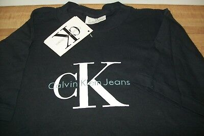 Vintage CALVIN KLEIN Black Unisex Tee Shirt 80s NOS W/Tags Made in USA Size S-M