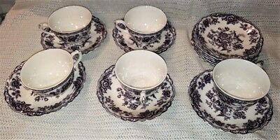 Bristol Crown Ducal 5 Tea Cups & 12 Saucers Mulberry *** Free Shipping ***