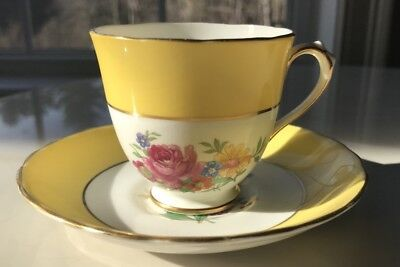New Chelsea Staff Demetasse Cup & Saucer, Yellow and Floral
