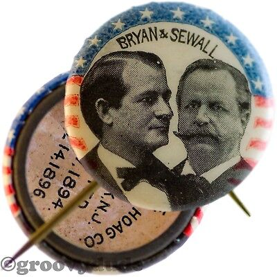 1896 William Jennings Bryan For President Sewall Campaign Pin Pinback Button