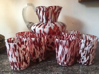 Antique Red and White Splatter Glass Pitcher and Six Tumblers