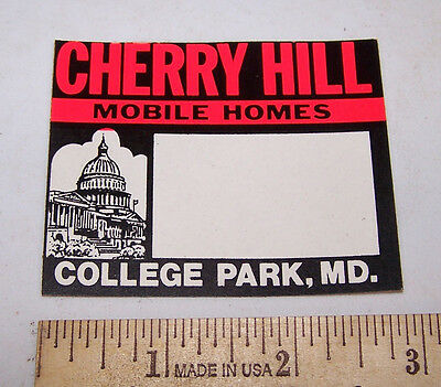 Vintage CHERRY HILL MOBILE HOMES Sticker COLLEGE PARK MARYLAND MD Bumper Window