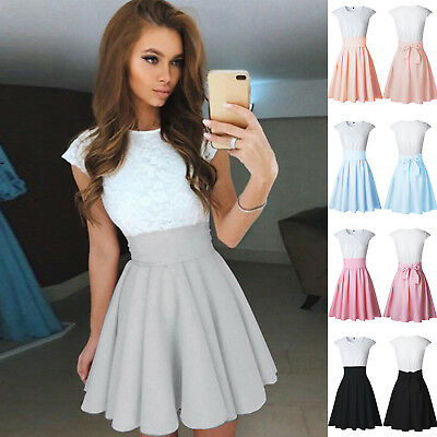 Women Casual Lace Mini Cocktail Skirt Ladies Evening Party Xmas Dress Tunic XL