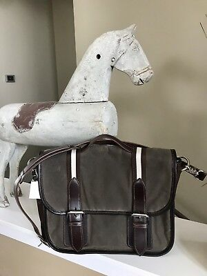 NWT Rebecca Ray Equestrian Endurance Waxed Cotton Leather Messenger Bag Olive